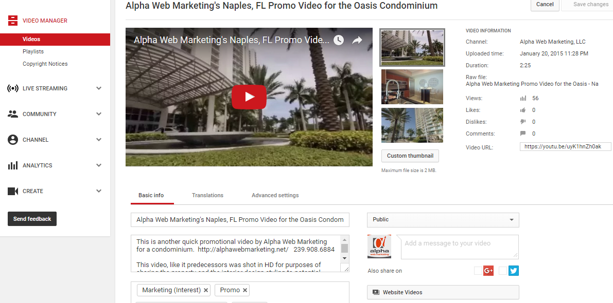 Naples web design company talks about the basics of using youtube for businesses.